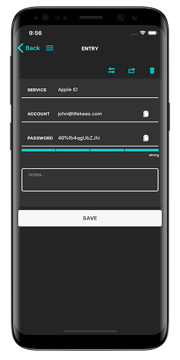 Lifekees Password App entry page