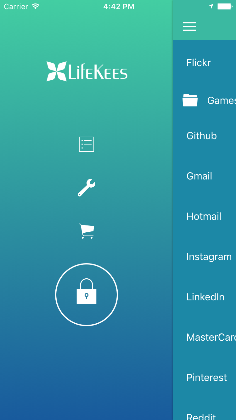 Lifekees Password Manager app with open sidemenu showing a large lock button